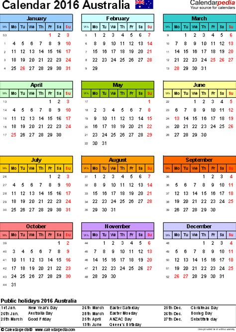 printable year planner australia 2016 australia calendar 2016 free printable excel templates
