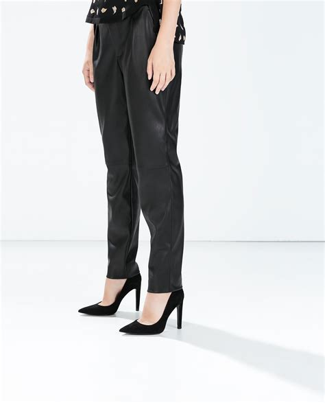 zara synthetic leather trousers with zara faux leather trousers in black lyst
