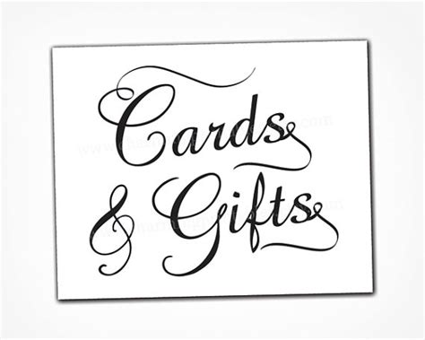 Cards And Gifts - card and gift table sign instant download printable pdf file black and white