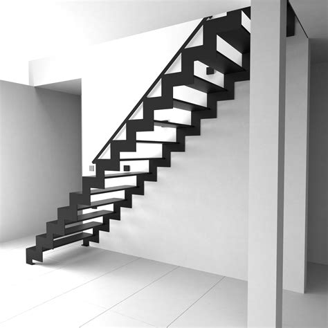 Modern Stairs Design Indoor Amusing Black Iron Z Models As Inspiring Stright Modern Stairs In Contemporary White And Black