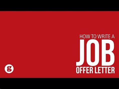 how to write a offer letter