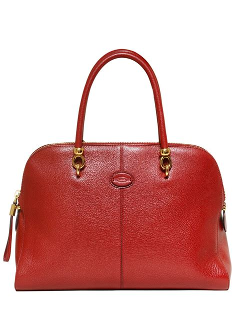 Sella Top lyst tod s sella grained leather top handle in