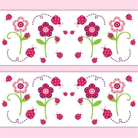 pink borders for bedrooms ladybug wallpaper border decal wall art floral girl