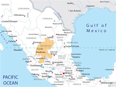 map of mexico zacatecas zacatecas mexico map