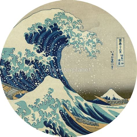 quot great wave off kanagawa circle quot stickers by monsterplanet