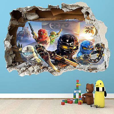 details about lego ninjago smashed wall sticker 3d