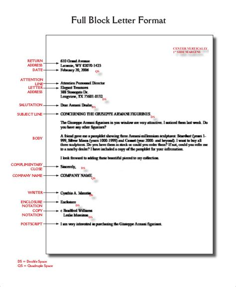 format of business letter block style block letter format template 8 free word pdf documents