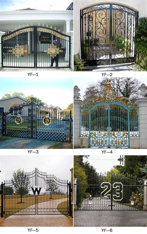 large black simple double open wrought iron driveway gate