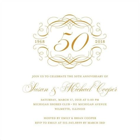 elegant 50th wedding anniversary invitations free