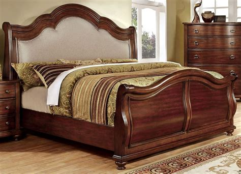 King Sleigh Bed Bellavista Brown Cherry King Sleigh Bed From Furniture Of America Cm7350h Ek Bed Coleman
