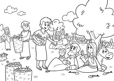 bible story coloring pages jesus feeds 5000 jesus feeds 5000 coloring page coloring pages designs