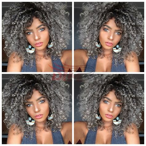 african americans and hair dye and gray hair two tone ombre grey curly wig synthetic afro kinky curly