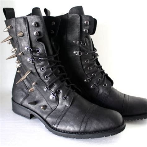 spiked mens boots mens spiked faux leather combat boots exclusively boots