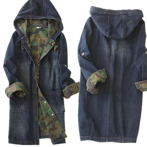 Jaket Denim High Quality single breasted denim hooded jacket camouflage high