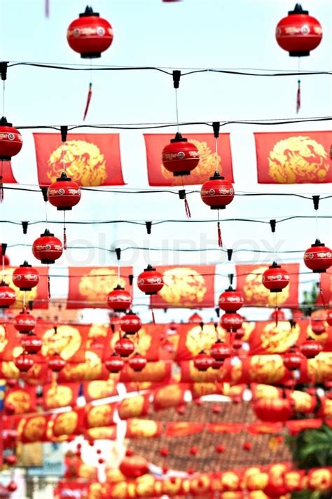 new year lantern supplier malaysia and yellow flags and paper lanterns adorning the