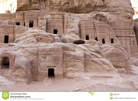 New One Story House Plans Ancient Houses At Petra Jordan Stock Photos Image 3806633