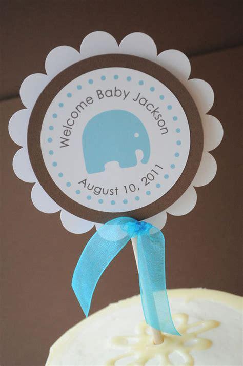 boy baby shower cake topper elephant theme personalized