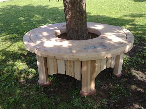 circular bench around tree round tree seats benches wooden pallets cable spool