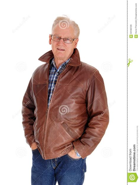 middle aged pics of guys with reddish brown hair closeup of a senior man in leather jacket stock image