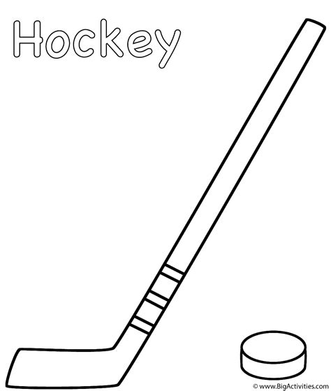 Coloring Pages Of A Hockey Stick | hockey stick with puck coloring page sports