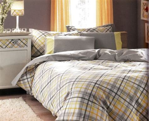gray yellow bedding custom queen or full size grey and yellow checked printed bedding set