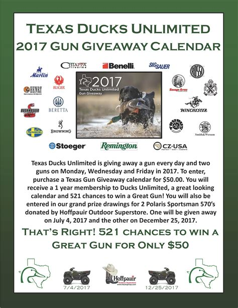 Ducks Giveaways 2017 - texas du calendar gun giveaway