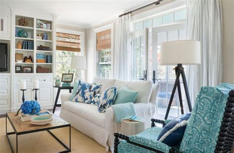 Turquoise Pillows Living Room Coastal Family Room Kate Jackson Design Lovely Living