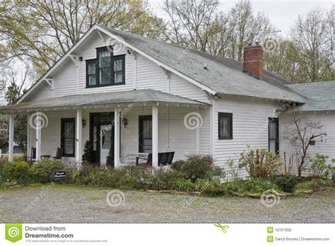 Southern Cottage House Plans Old White Clapboard Farmhouse Royalty Free Stock Photo