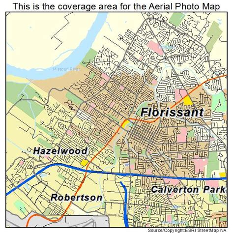 aerial photography map of florissant mo missouri