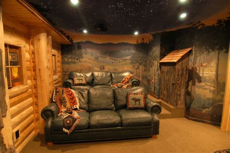 Finished Bathroom Ideas by Log Home Theater Traditional Basement Detroit By