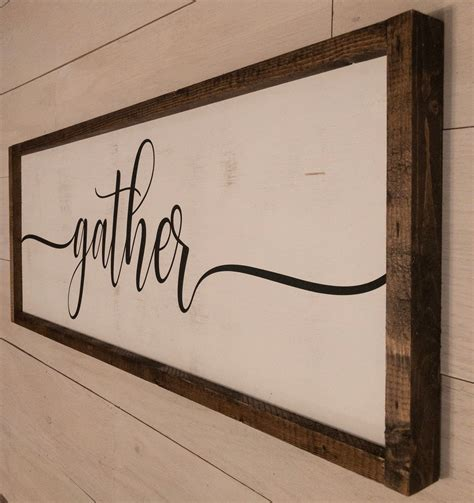 gather framed wooden sign dining room sign farmhouse
