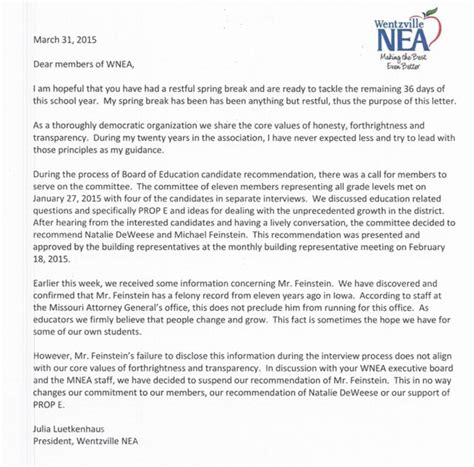 Letter Support Political Candidate Election Of Convicted Felon To Wentzville School Board Should Sound Alarm Show Me Institute