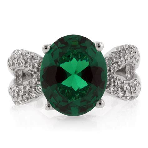 big oval cut coctail emerald ring silverbestbuy