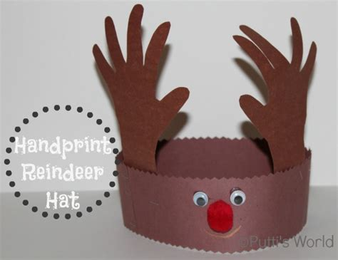 handprint reindeer hat crown christmas kids craft pictures