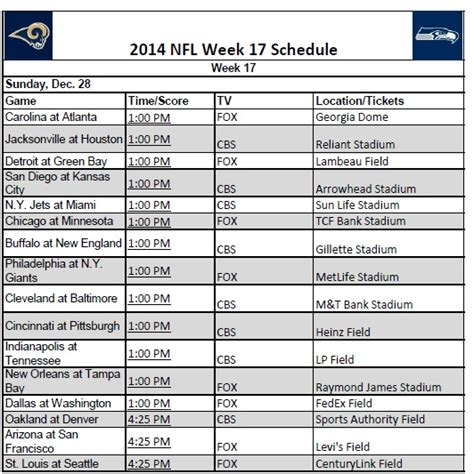 printable schedule of nfl games printable 2014 nfl week 17 schedule