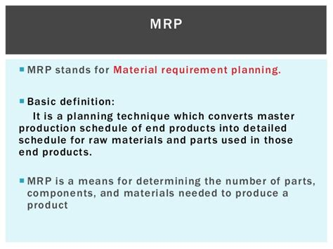 Mrp Stands For by Mrp Mrp Ii Jit