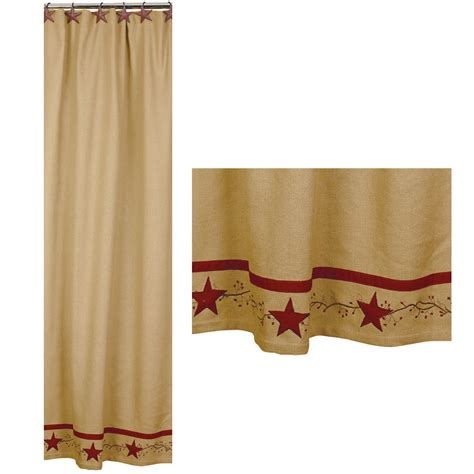 country star shower curtain primitive star vine cotton burlap country shower curtain