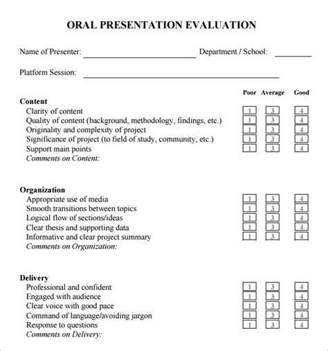 dissertation presentation exle presentation evaluation form teaching ideas