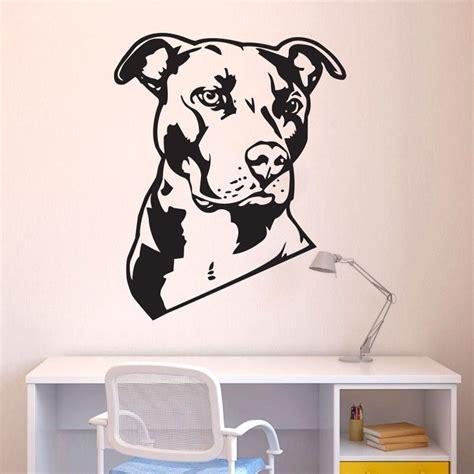 dog wall art dog animal pit bull wall decal art home decor pitbull wall