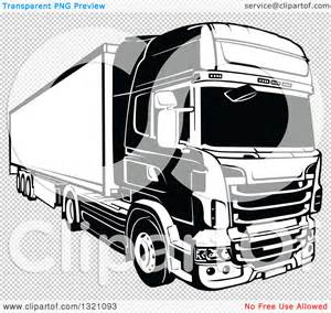 clipart of a black and white lorry big rig truck 2