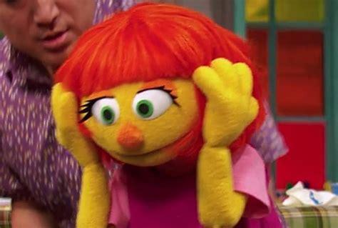 hot chick on sesame street newest muppet on sesame street julia has autism video