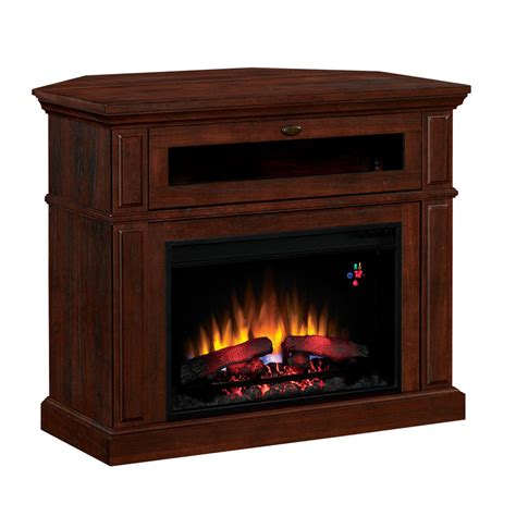 Corner Electric Fireplace Shop Style Selections 40 In W 4 600 Btu Brown Cherry Laminate Wood And Metal Corner Or Wall