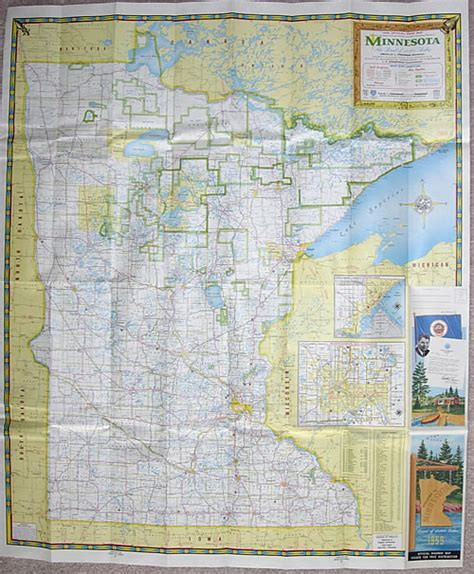 Route Drawer Map by 1959 Official Road Map Minnesota