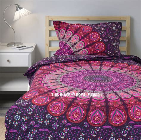 pink purple medallion boho style mandala bedding duvet set