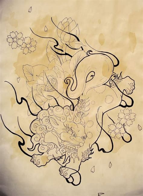 foo dog tattoo design 610x515 for the arm foo