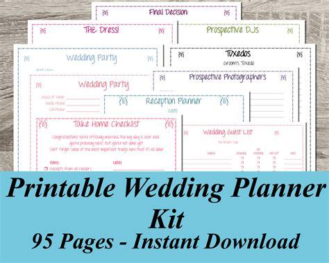 free printable wedding planner binder printable wedding planner instant download ultimate wedding