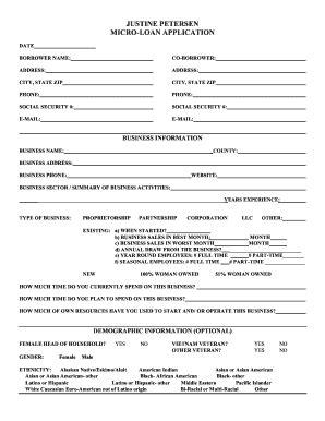 justine petersen  application  micro loan fill  printable fillable blank