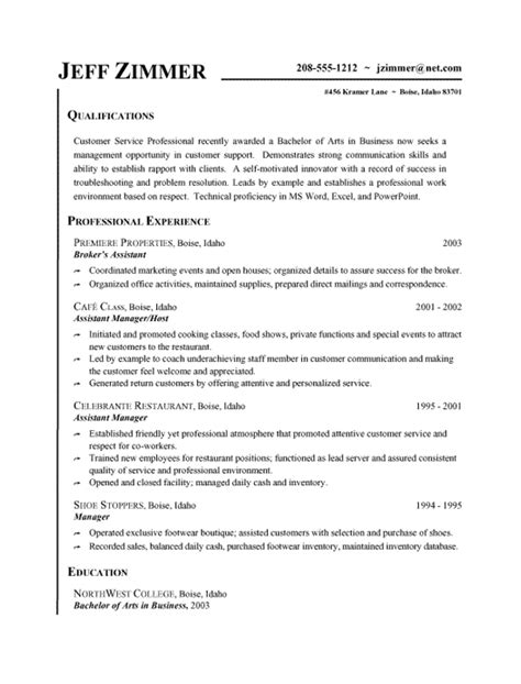 resume format customer service customer service resume exle business assistant host