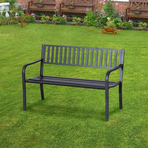 outdoor decorative bench outsunny 50 quot slatted steel decorative patio garden bench