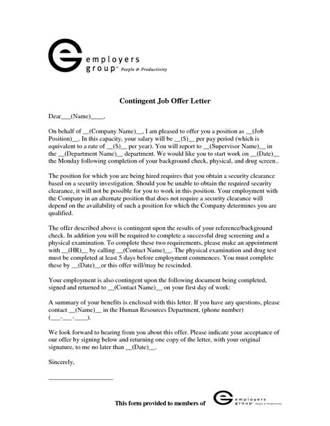 Offer Letter Contingent On Background Check best photos of counter offer letter sles